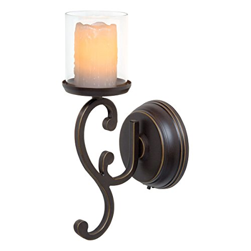 Candle Impressions Flameless LED Candle Wall Sconce - Rubbed Bronze Swirl Design w/ 5 Hour Timer - Single (Wall Sconce Candle Holder)