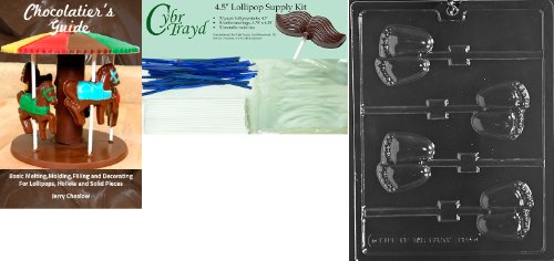 Baby Feet Lollipops - Cybrtrayd 'Chubby Baby Feet Lolly' Baby Chocolate Candy Mold with Chocolatier's Bundle, Includes 50 Lollipop Sticks, 50 Cello Bags, 50 Blue Twist Ties and Chocolatier's Guide
