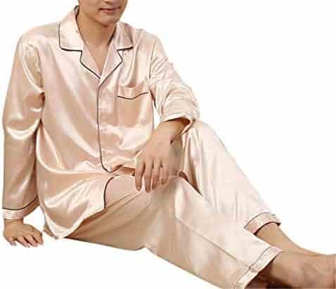 Lutratocro Mens Homewear Comfort Long Sleeve 2 Pcs Nightie Pajama Set