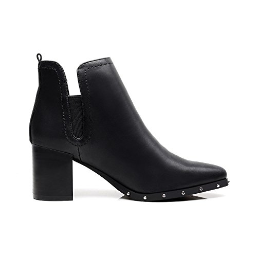 Boot Heel Glamour DUNION Chunky Fashion On Slip Black Ankle Women's nFqn4w7Z8x