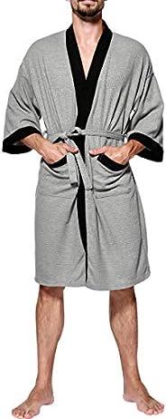 AGUTIUN Men's Cotton Waffle Weave Robe Lightweight Kimono Spa Bathrobe Shawl Long Nightgowns Sleep