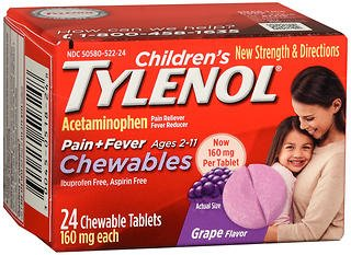Tylenol children's Pain plus Fever, Grape, 24 Chewable Tablets (Pack of 2) -