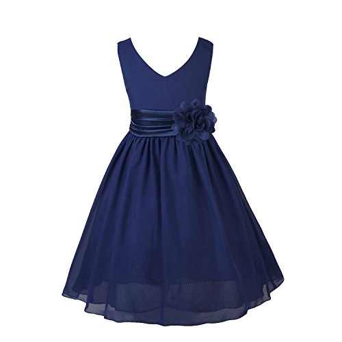 TiaoBug Girls Sleeveless V-Neck Pleated Waist with Flower Party Dress Wedding Bridesmaid Pageant Chiffon Dresses Navy Blue 4]()