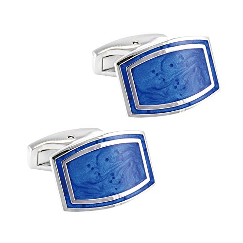 High-grade men's business initial luxurious luxurious wild French shirt rectangular blue cufflinks