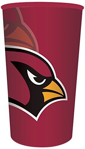 Creative Converting NFL 20 Count Plastic Souvenir Cups, Arizona Cardinals, 22 oz, Red