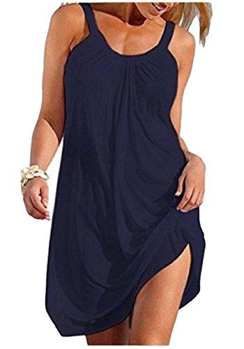 Coolred Summer Dress Women Beach Mini Sling Plus Color Soft Blue Navy Pure Size rwr4ICqxH