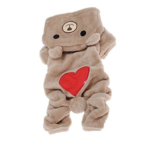 Picture of Dog Outfits, FuzzyGreen Cute Bear Costume Jumpsuit Hoodie Clothes Apparel for Dog Pet (Large, Light Coffee)