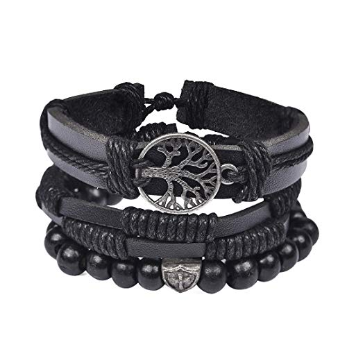 DALARAN Mixed 3 Wrap Wristband Bead Chain Black Leather Bracelet for Boys Multilayer Tree of Life Bangle ()