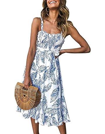 d26ead2a38 Angashion Women's Dresses - Summer Boho Floral Spaghetti Strap Button Down  Belt Swing A line Midi