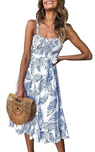 Angashion Women's Dresses - Summer Boho Floral Spaghetti Strap Button Down Belt Swing A line Midi Dress with Pockets 121 Blue L