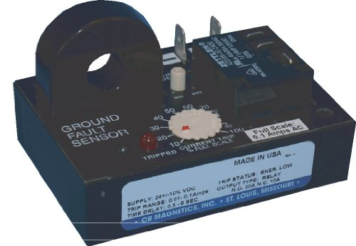 CR Magnetics CR7310-LH-120-.01.1-C-CD-ELR-I Ground Fault Sensor Relay with Internal Transformer, 120 VAC, Latch on High Trip, 0.01 to 0.1 AAC Trip Range, 0.1 to 1 Second Trip on Delay ()