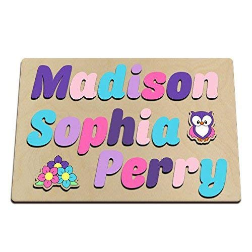Personalized Wooden Three 3 Name Puzzle With Owl & Flowers Painted In Pretty Pastels Upper And Lower Case Letters