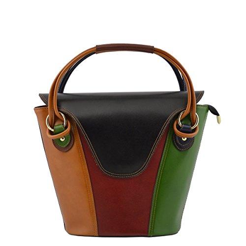 Borsa A Mano In Vera Pelle Multicolor Colore Nero - Pelletteria Toscana Made In Italy - Borsa Donna