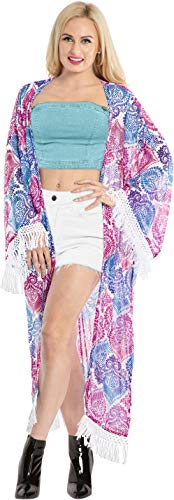LA LEELA Sommer Freizeitkleidung gedruckt Schiere Chiffon Strand Badeanzug vertuschen für Frauen Kimono Kleid