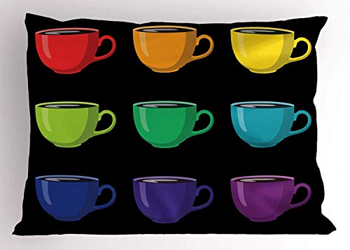 K0k2t0 Coffee Pillow Sham, Rainbow Colored Tea Glasses Teatime Cozy Home Breakfast Hot Aromatic Drink Theme, Decorative Standard Queen Size Printed Pillowcase, 30 X 20 Inches, Multicolor -