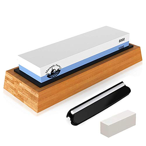 Marandy Farms Whetstone Knife Sharpening Stone - 2 Sided Professional Waterstone - Kit + Accessories - 1000/6000 Grit - Nonslip Bamboo Base + Ceramic Angle Guide, Flattening Stone & Video Instruction (Ceramic Guide)