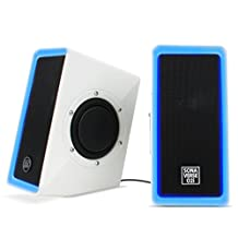 USB 2.0 PC Speaker System For Gaming Computer Laptop with Built-In LED Lights - For Dell Alienware , ASUS , Acer Predator , Alienware Aurora , CyberPowerPC , CybertronPC , HP and many more