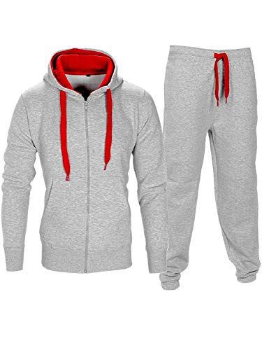 Noroze Mens Contrast String Hoodie Top Bottoms Tracksuit Grey/Red L (12)