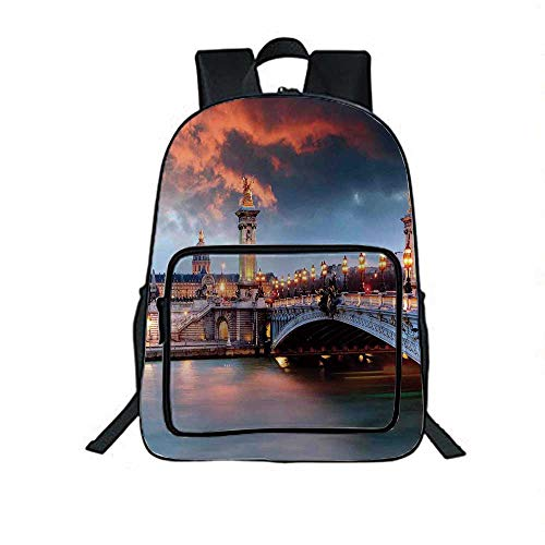 Paris Decor Individual School Backpack,Alexandre 3 Bridge Paris France Palace Golden Color Peaceful Surface Waterscape for School Tourism,One_Size