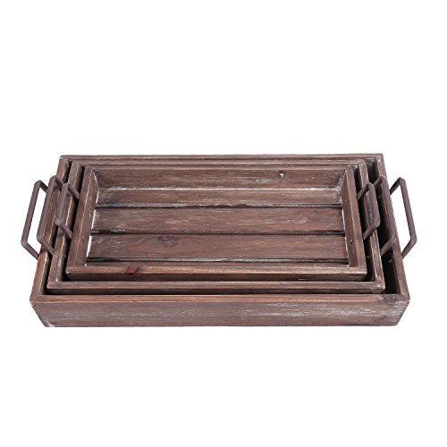 Distressed Wood Slat Nesting Breakfast Serving Trays w/ Antique-Style Metal Handles, Set of 3, Brown by MyGift (Image #1)