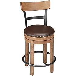 Ashley Furniture Signature Design - Pinnadel Swivel Barstool - Counter Height - Brown