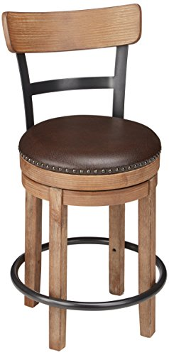 Ashley Furniture Signature Design - Pinnadel Swivel Barstool - Counter Height - - Bar Stool Back Cambridge