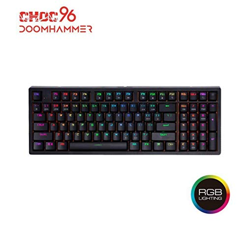 Doomhammer Choc 96 Wired Mechanical Gaming Keyboard – True RGB Backlit, Hot Swappable Key switches, NKRO Blue Switches RGB , Black
