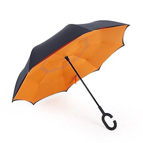 NEWBRELLAs Self Standing Inverted Umbrella with C-shaped Hands Free Handle (Orange) (Brite Wing)