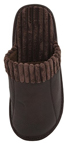 Zest Mens PU Open Back Mule Slipper Dark Brown XcibZR3m