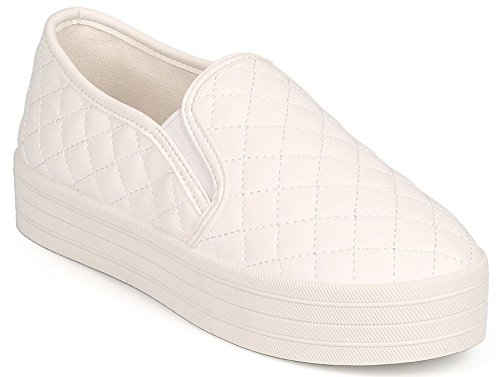 DEV Womens Breckelle Reneeze Quilted Leather Multicoilor Platform Slip On Sneaker Shoes White JONssqLk