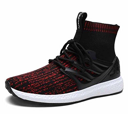 Haute Occasionnelles À De Confortables Course Athlétiques Red Noir Chaussures Hommes Respirante Montée wtYqB0n