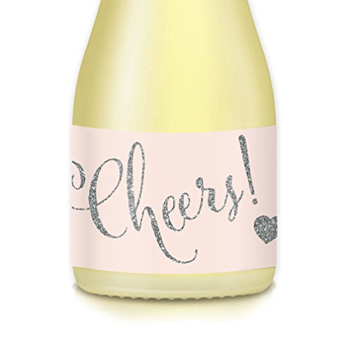CHEERS! Mini Champagne & Wine Bottle Labels, 20 Count All Occasion Sparkling Silver Decals Celebrate 21st Birthday, Engagement Bachelorette Party, Wedding Reception, 3.5
