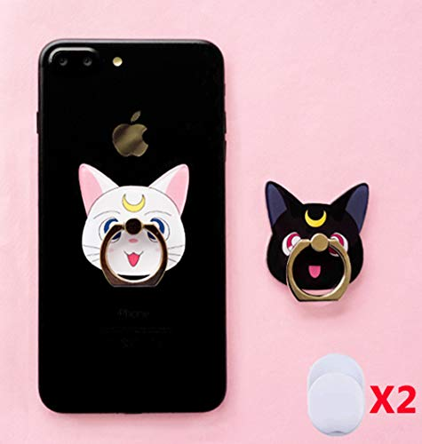 ZOEAST(TM) 2pcs Phone Ring Grip Sailor Moon Black White Cat Luna Universal 360 Adjustable Holder Case Stand Stent Mount Kickstand Compatible All iPhones Samsung Android Pad Tablet (2pcs Moon Cats)
