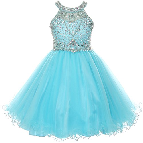 Big Girls Stunning Rhinestones Halter Neck Wired Tulle Corset Back Flower Girl Dress Aqua - Size 14