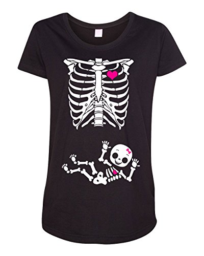 Maternity Baby Girl Skeleton Pregnant Black DT T-Shirt (Medium, (Maternity Halloween Shirts)