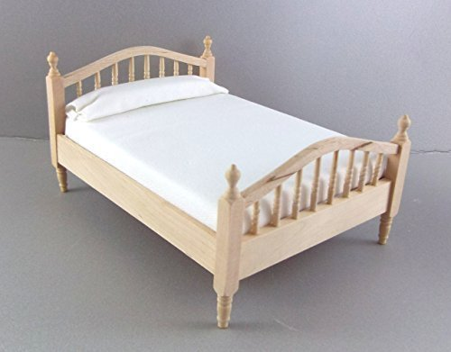 Unknown Dolls House Unfinished 1:12 Bedroom Furniture Natural Wood Spindle Double Bed (Wood Doll Bed)
