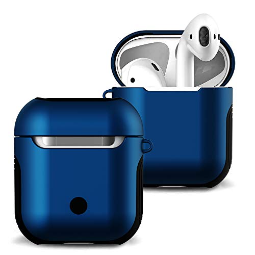 Royal Blue Metal - Romozi Airpods Case Cover and Skin Airpod Skins Compatible Apple AirPods 2&1 Charging Case, Soft Silicone + Hard Cover Dual Layer Anti-Fall AirPod Case for AirPods Accessories (Royal Blue)