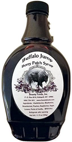 Buffalo Jump Berry Patch Syrup - 11 oz Huckleberries Blueberries Raspberries From Montana Bounty Foods for Cocktails  - Coffee -  Breakfast - Dessert Topping - Gluten-Free - Vegan Friendly (BJS 11oz)
