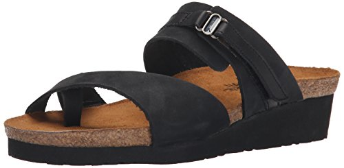 Naot Women's Jessica Wedge Sandal, Black Nubuck/Black Shiny Leather, 40 EU/8.5-9 M US