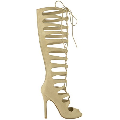 Fashion Thirsty Womens Ladies Knee High Cut Out Lace Up Stiletto Heel Sandals Boots Size 9