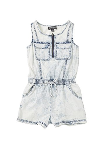 [A33845-ACWS-10/12G] Chilipop Girls Romper - Acid Wash White-Out Denim with Drawstring Elastic (Outfits For Tweens)