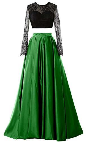 MACloth Women 2 Piece Long Sleeve Lace Prom Dress 2017 Formal Party Evening Gown Verde