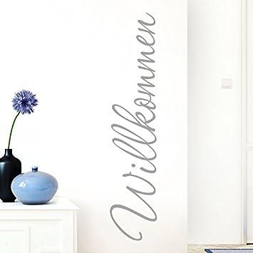 Grandora Wandtattoo Wort Willkommen I azurblau 13 x 58 cm I deutsch Flur Diele Eingang selbstklebend Aufkleber Wandaufkleber Wandsticker W1099