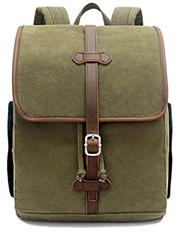 EverVanz Vintage Canvas Leather School Hiking Casual Backpack Outdoor Backpack