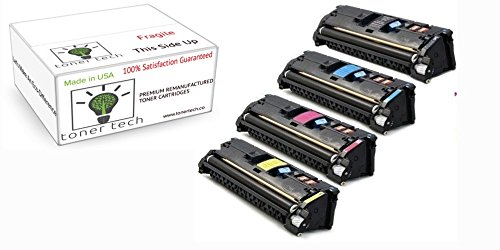 Toner Tech- High Yield Remanufactured OEM Toner Cartridge Replacement (Q3960A,Q3961A,Q3962A,Q3963A) for HP 122A/ HP 2550 (Complete Set) ()
