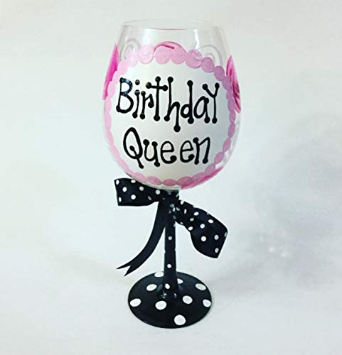 GIANT Birthday Queen Wine Glass-HOLDS ENTIRE BOTTLE OF WINE