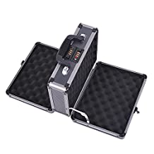 HOMCOM Double Locking Sided Hard Pistol Handgun Case Gun Safe Carry Storage Box with Code Set