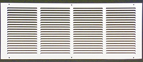24w X 8h Steel Return Air Grilles - Sidewall and Cieling - HVAC DUCT COVER - White [Outer Dimensions: 25.75w X 9.75h]