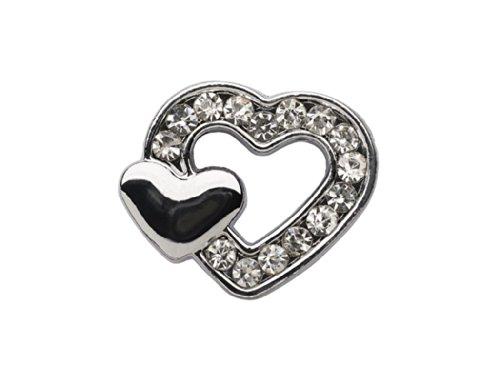 """La Loria Charm Clip - per le donne o ragazze """"Double Heart"""" a forma di cuore, colore argento - Charm con strass per il cinturino in pelle o i lacci"""