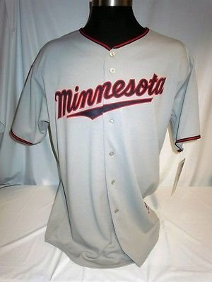 Minnesota Twins Authentic Majestic Grey Road Jersey with 50 Seasons Patch